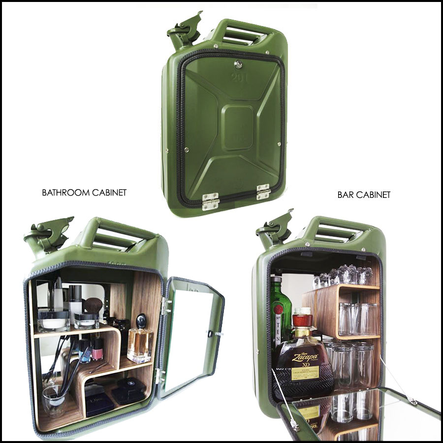 Repurposed Jerrycan Bar and Bathroom Cabinets