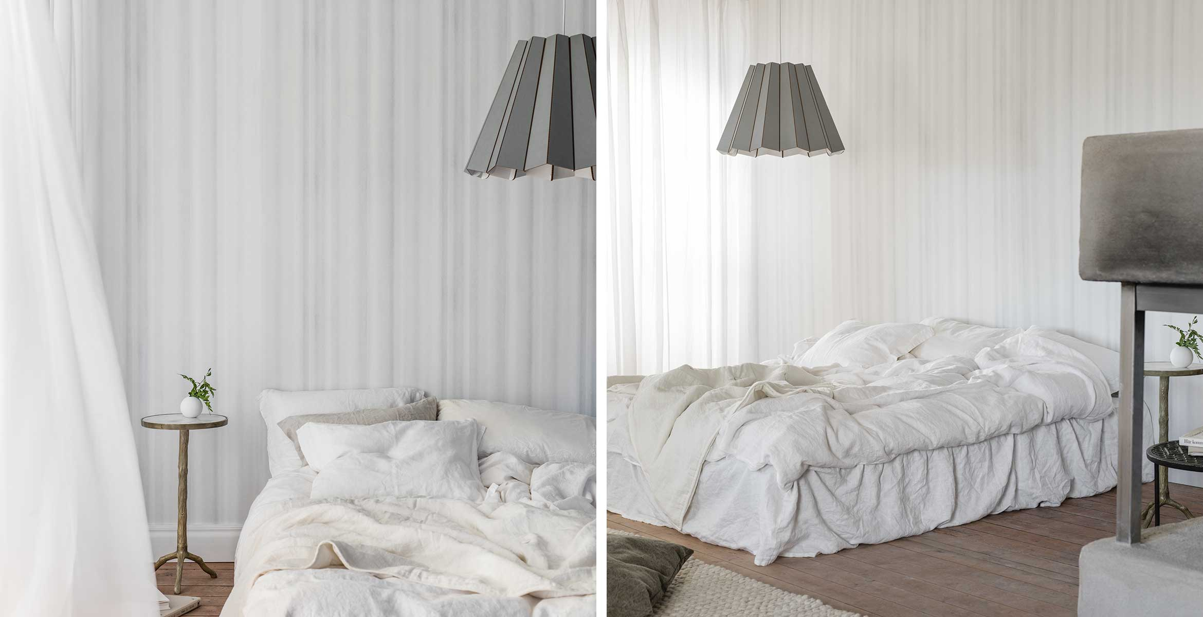 New Drapery is a classic way of decorating walls turned into a design that offers exciting and lively shadow play