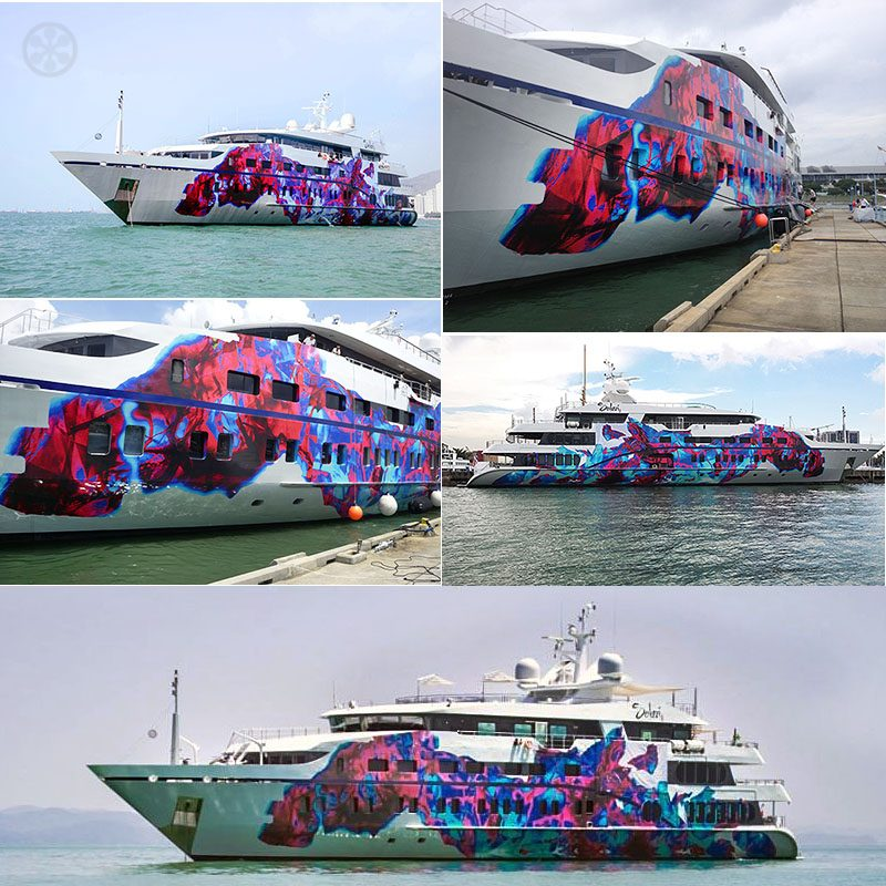 painted superyacht