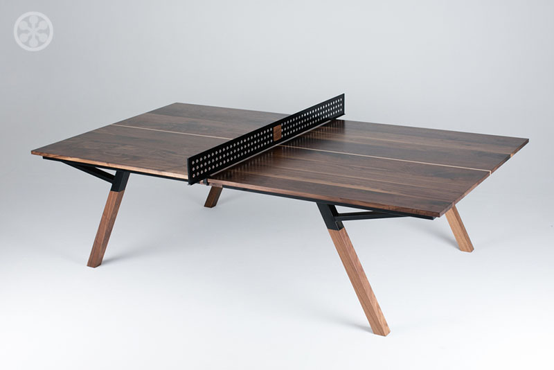 The woolsey walnut wood ping pong table dining table for Table ping pong
