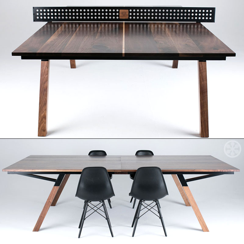 Vintage Woolsey Studios has produced a gorgeous piece of furniture that can function as a dining room or conference table as well as a ping pong table crafted to