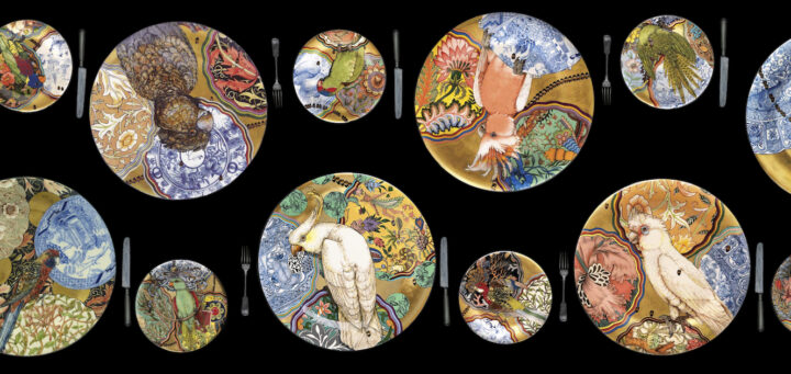 Ceramicist Stephen Bowers Serves Up Parrots on Plates With His Camouflage Series