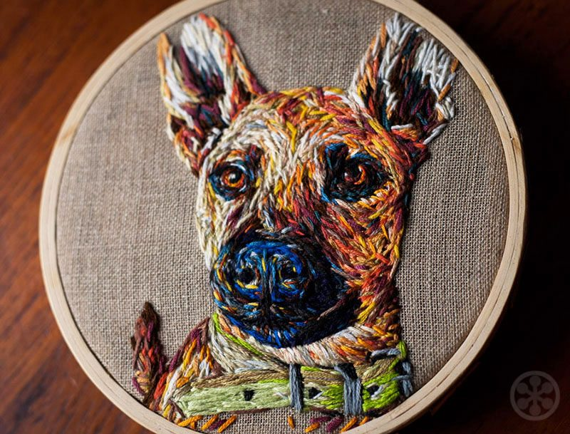 commissioned embriodered dog portraits
