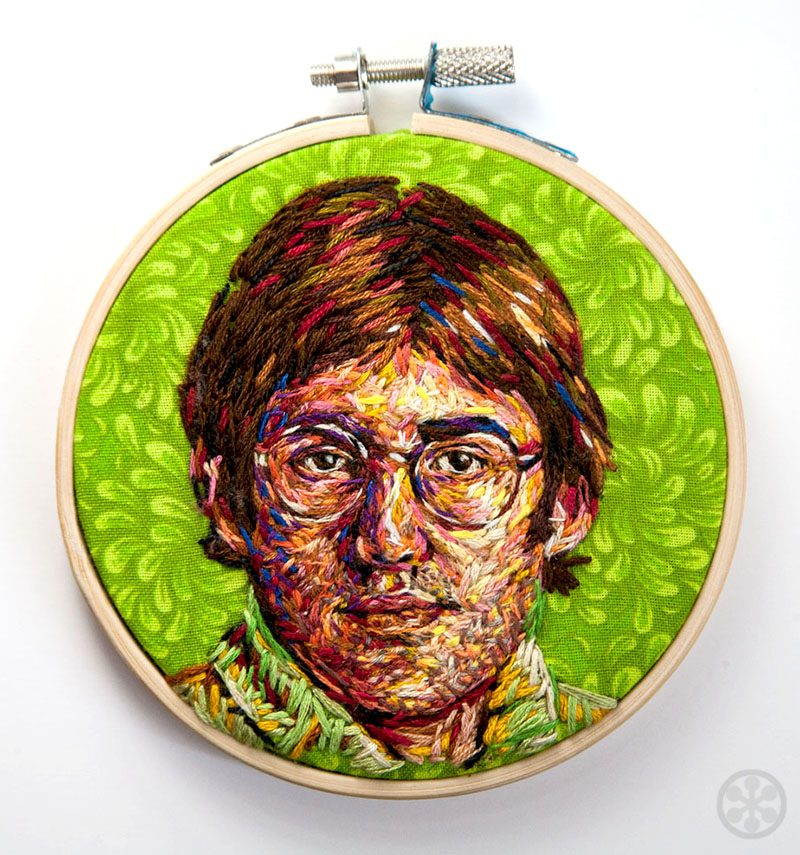 embroidered portrait of Louis Theroux