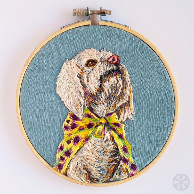 embroidered portrait of your dog