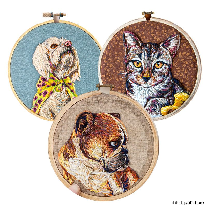 embroidered pet portraits