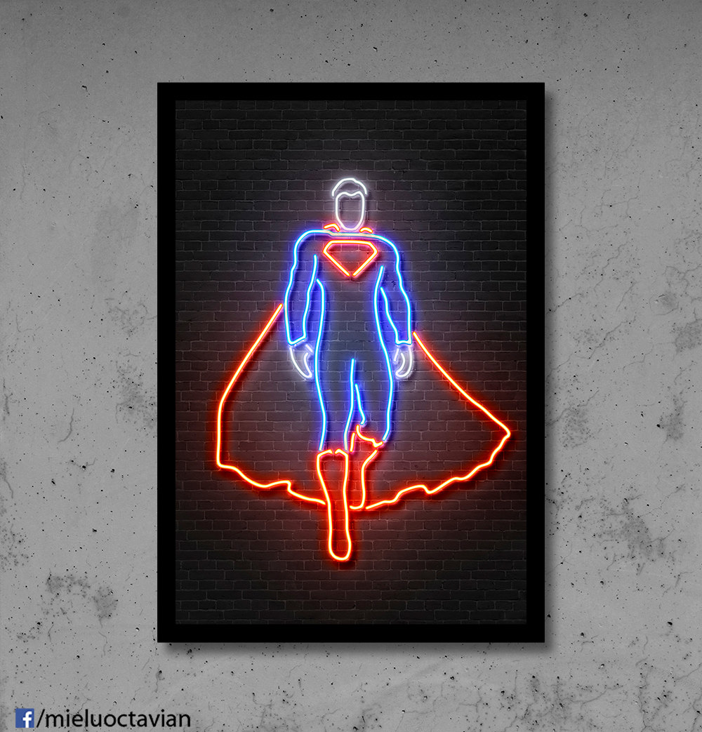 Neon Wall Art romanian artist octavian mielu creates neon-like art prints