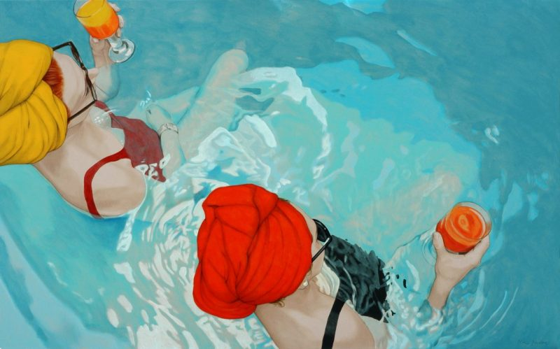 Nina Nolte paintings of women in swimming pools