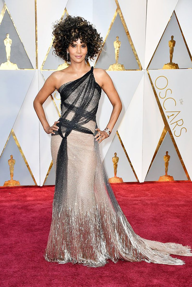 Halle Berry in Versace gown.
