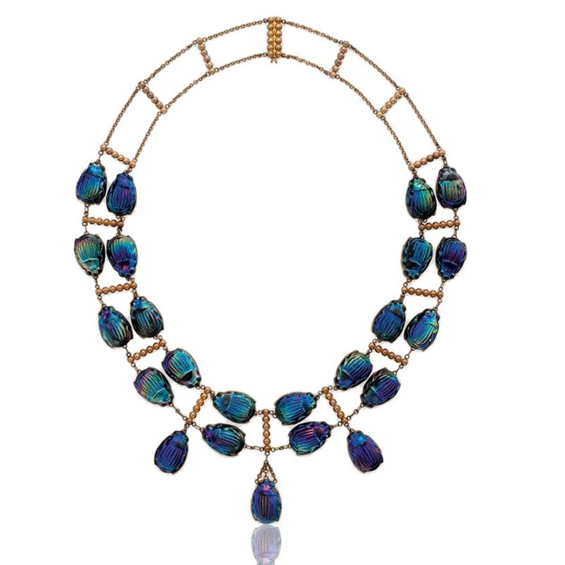 Favrile Glass Beetle and Gold Necklace
