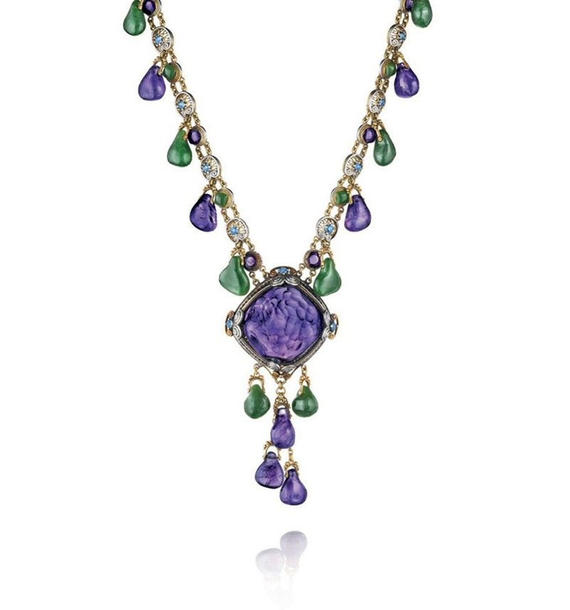 nephrite amethyst and sapphire necklace
