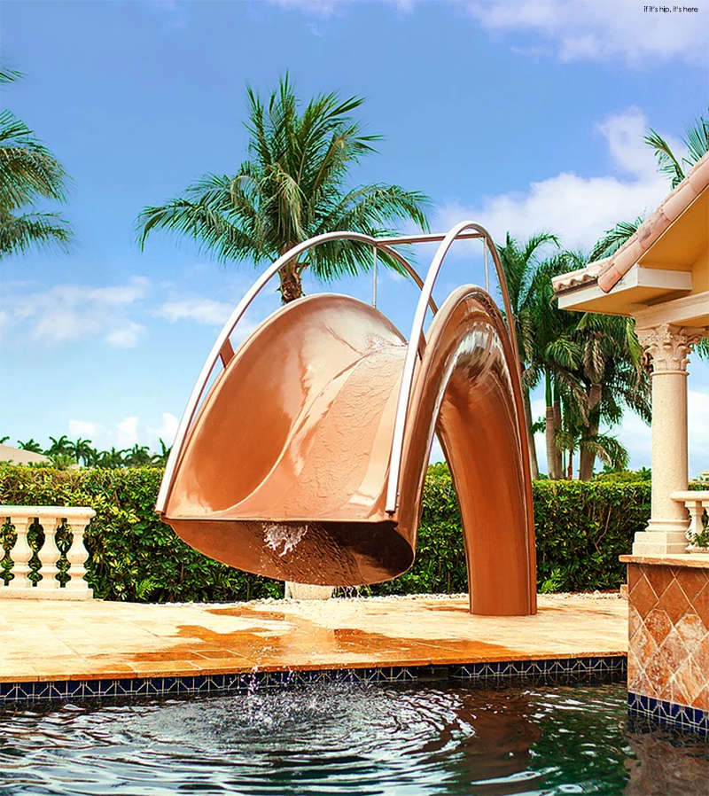 the custom shoot pool slide in bronze resin - House Pools With Slides