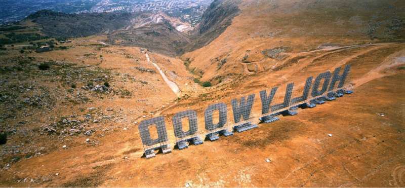 Maurizio Cattelan, Hollywood sign in Palermo, Italy, 2001