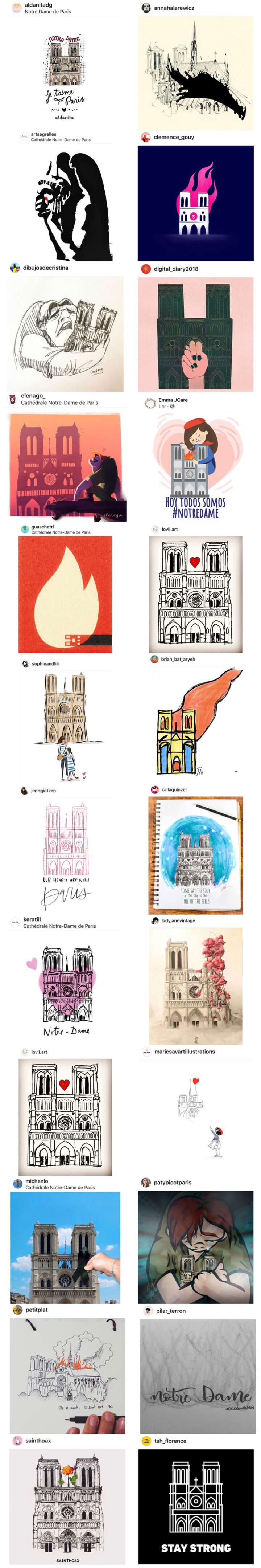 Artistic Tributes To The Notre Dame Cathedral