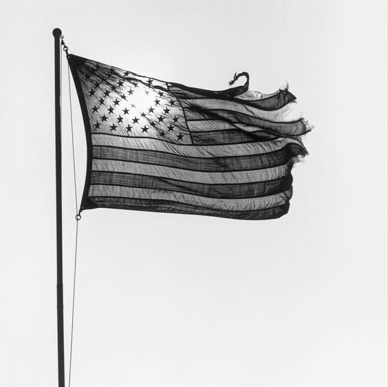 black and white photos of the American Flag