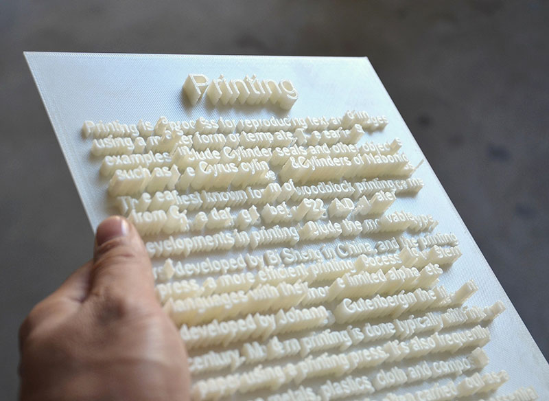 3D printed text