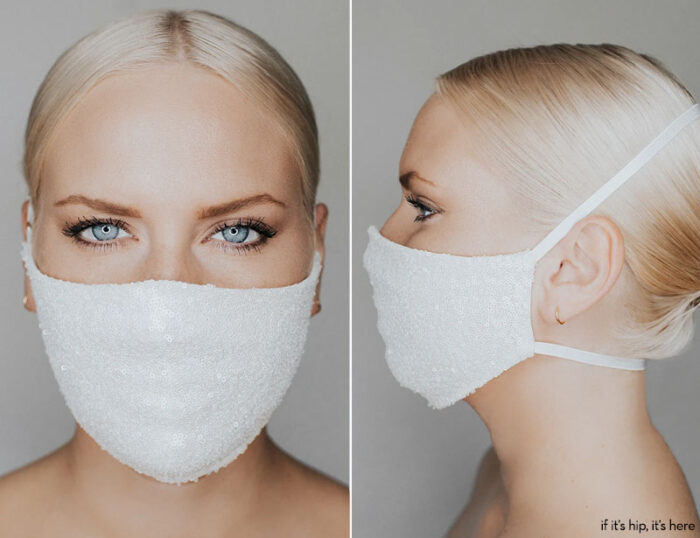 katie may disco ball white face mask