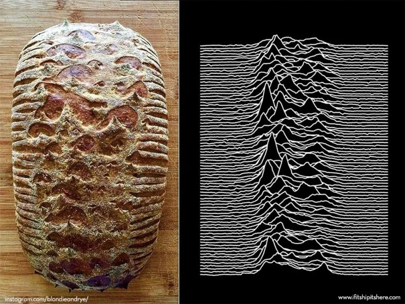 blondie + rye, sourdough loaf inspired by Joy Division's Unknown Pleasures album cover