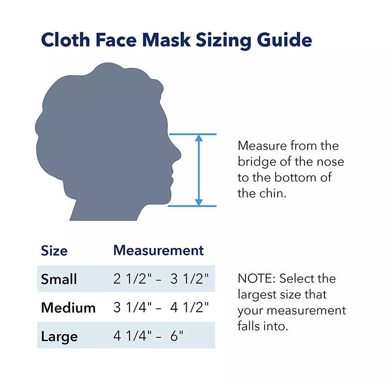 cloth mask child's size guide