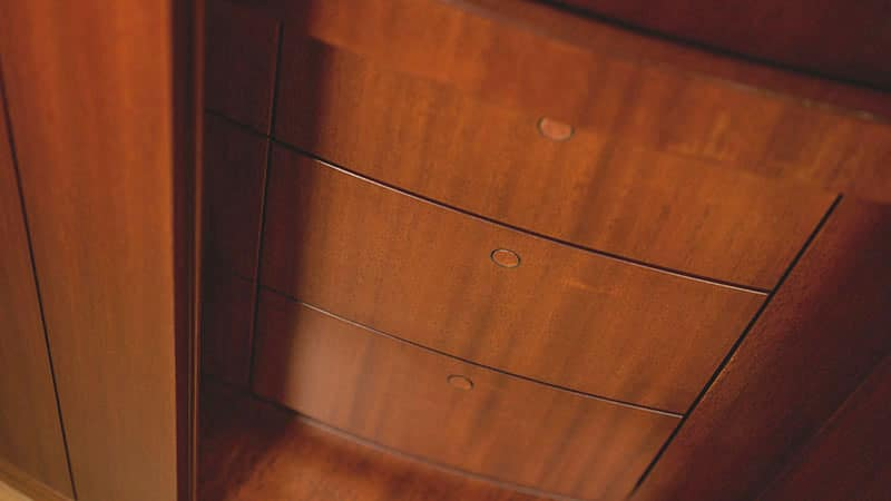 curved wood in the spirit 111 superyacht