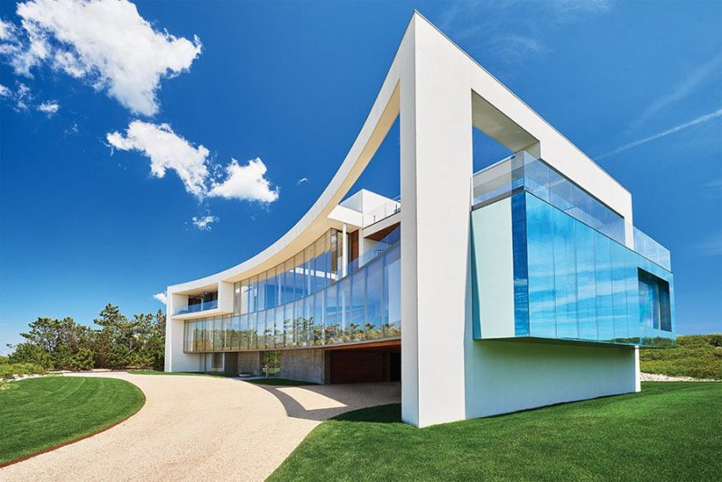 open pond house curved facade