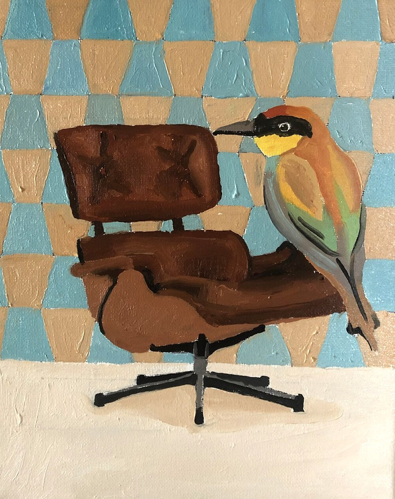 Bird on eames chair painting