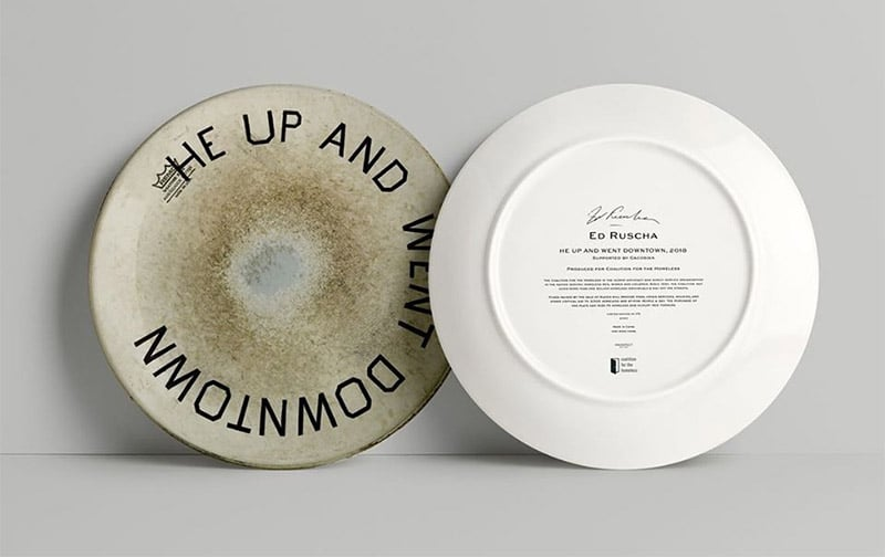 """Ed Ruscha """"He Up and Went Dowtown"""" artist plate"""