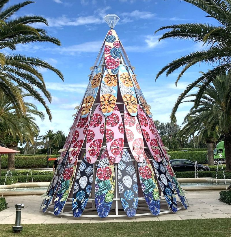 Ashley Longshore Christmas tree made out of 52 surfboard tree for Royal Poinciana