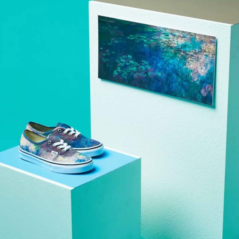 Monet art and shoes