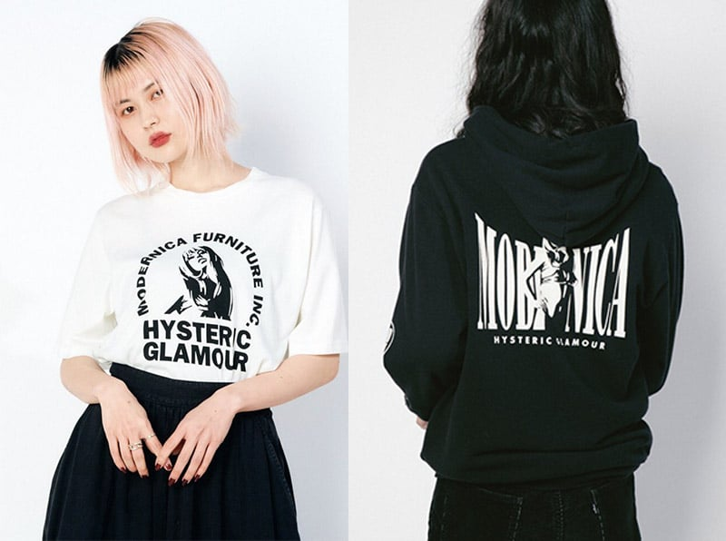 modernica hysteric glamour tee and hoodie