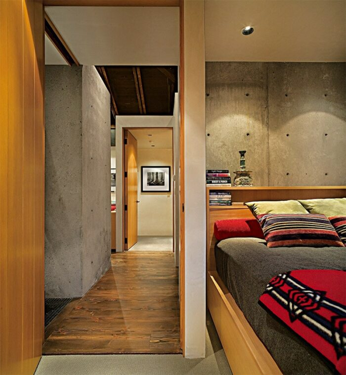 concrete and wood cabin