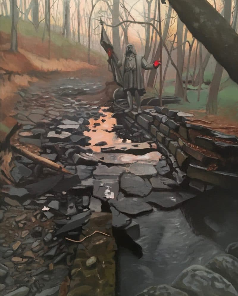 Christopher Columbus Discovers the Wissahickon, 2020. Oil on panel, 20x16 inches.