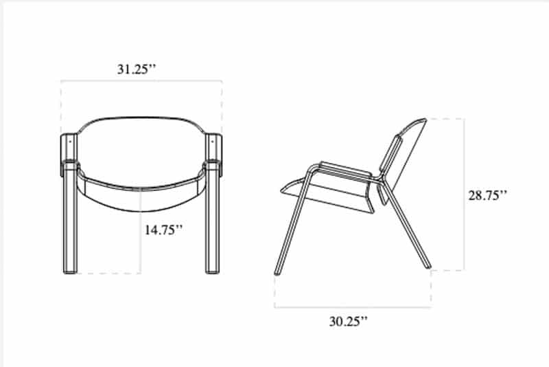 dimensions of oyster chair