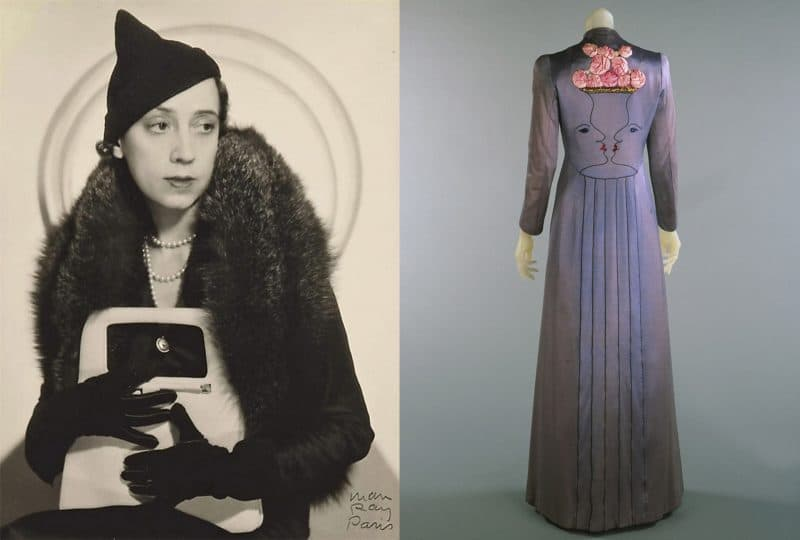 May Ray photo of Elsa Schiaparelli 1931; right: Schiaparelli gown collaboration with Jean Cocteau, 1937