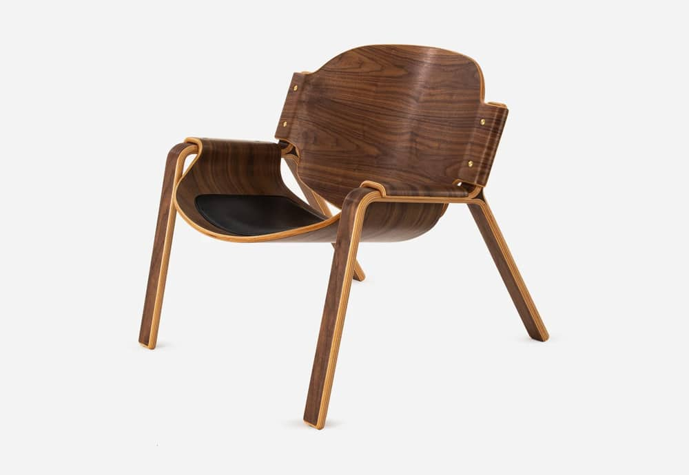 Oyster Chair in Walnut Veneer with Black Leather