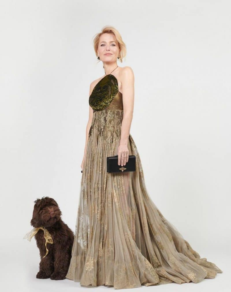 Gillian Anderson in Dior with her pup