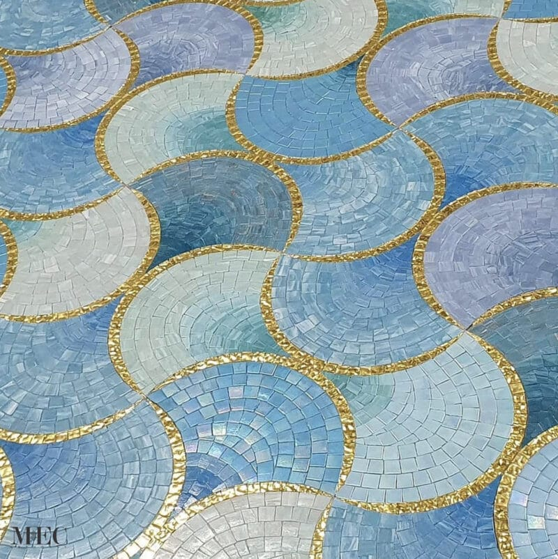 pool mosaic with 24k gold-foiled glass