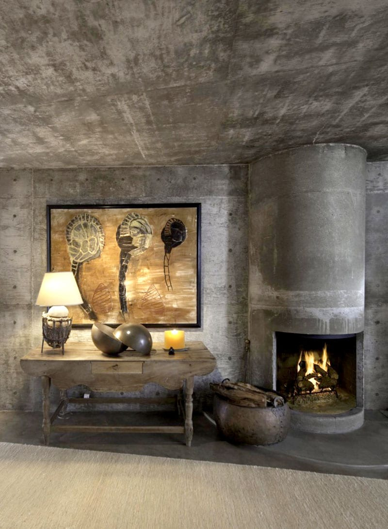 concrete fireplace and chimney