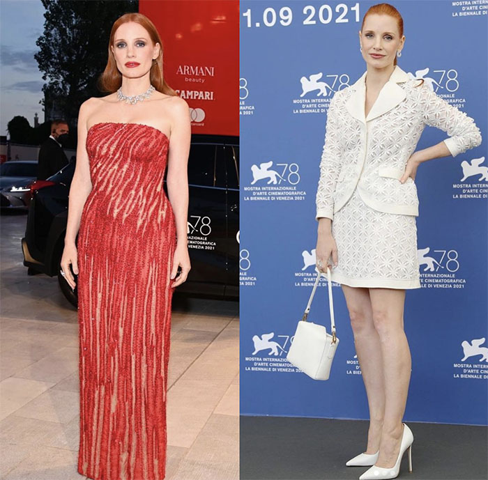 Jessica Chastain, night and day, in Versace and Giambattista Valli, respectively