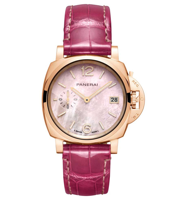 Panerai PAM02021 pièce unique Piccolo Due in Goldtech™ and pink mother-of-pearl dial