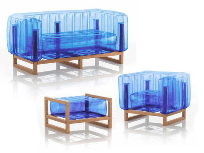Blow-up sofa, armchair and ottoman with wood frames.