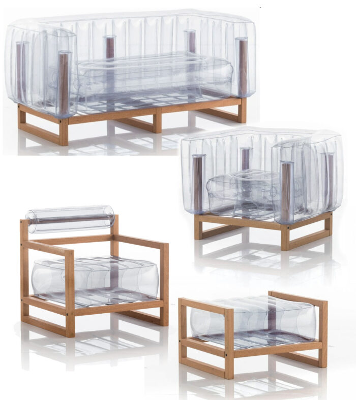 clear inflatable furniture with wood frames