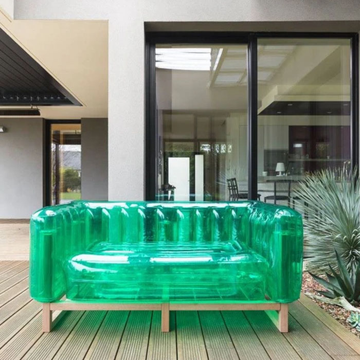 green inflatable sofa outdoors