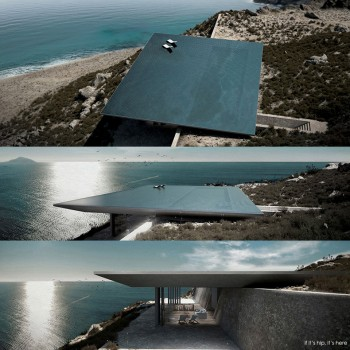 Rimless Swimming Pool Serves As Roof for Mirage House in Greece.